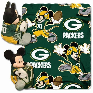 Green Bay Packers Mickey Mouse Pillow / Throw Combo