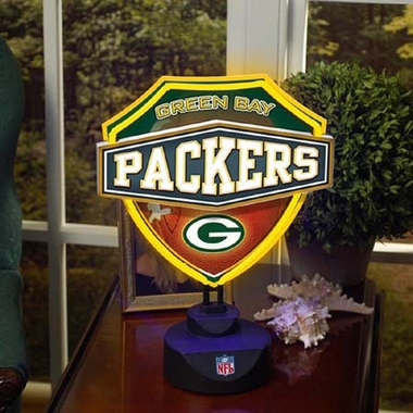 Green Bay Packers Neon Shield Table Lamp
