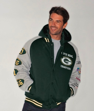 Green Bay Packers NFL Defender Super Bowl Commemorative Detachable Hooded Jacket
