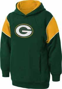Green Bay Packers NFL YOUTH Color Block Pullover Hooded Sweatshirt - Small