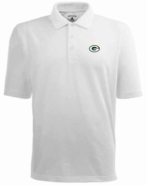 Green Bay Packers Mens Pique Xtra Lite Polo Shirt (Color: White)