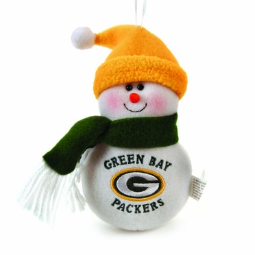 Green Bay Packers Plush Snowman Ornament (Set of 3)