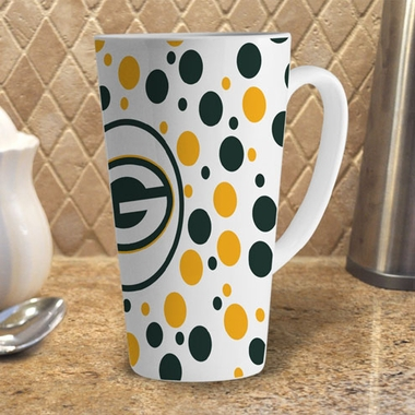 Green Bay Packers Polkadot 16 oz. Ceramic Latte Mug