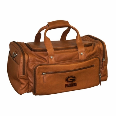 Green Bay Packers Saddle Brown Leather Carryon Bag
