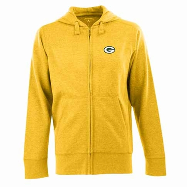 Green Bay Packers Mens Signature Full Zip Hooded Sweatshirt (Alternate Color: Gold)