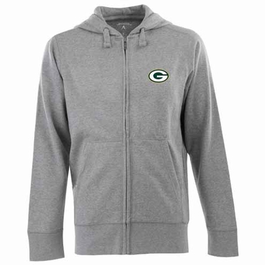 Green Bay Packers Mens Signature Full Zip Hooded Sweatshirt (Color: Gray)