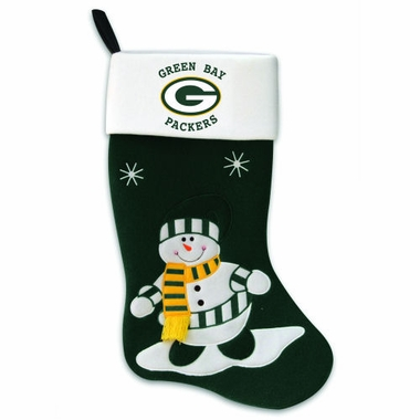Green Bay Packers Snowman Felt Stocking