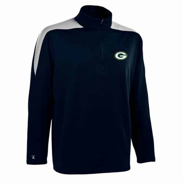 Green Bay Packers Mens Succeed 1/4 Zip Performance Pullover (Color: Smoke)