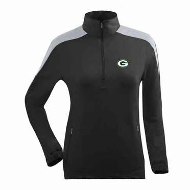 Green Bay Packers Womens Succeed 1/4 Zip Performance Pullover (Team Color: Black)