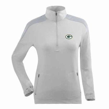 Green Bay Packers Womens Succeed 1/4 Zip Performance Pullover (Color: White)