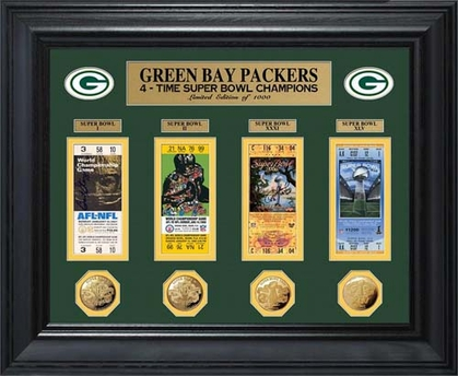 Green Bay Packers Green Bay Packers Super Bowl Ticket and Game Coin Collectible Frame