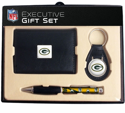 Green Bay Packers Trifold Wallet Key Fob and Pen Gift Set