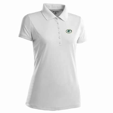 Green Bay Packers Womens Pique Xtra Lite Polo Shirt (Color: White)