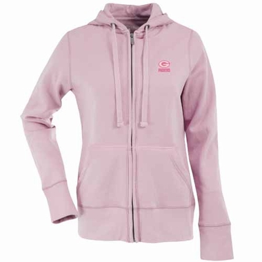 Green Bay Packers Womens Zip Front Hoody Sweatshirt (Color: Pink)