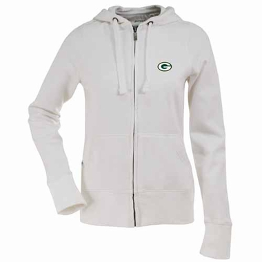 Green Bay Packers Womens Zip Front Hoody Sweatshirt (Color: White)