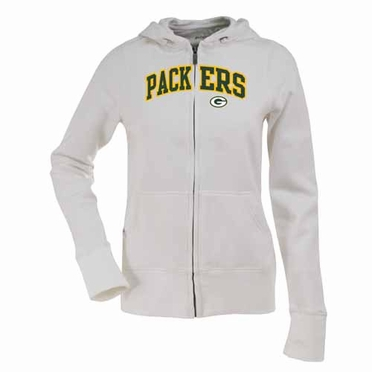 Green Bay Packers Applique Womens Zip Front Hoody Sweatshirt (Color: White)