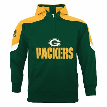 Green Bay Packers YOUTH Kick Off 1/4 Zip Performance Hoody