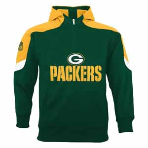 Green Bay Packers YOUTH Kick Off 1/4 Zip Performance Hoody - Small