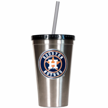 Houston Astros 16oz Stainless Steel Insulated Tumbler with Straw