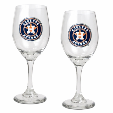 Houston Astros 2 Piece Wine Glass Set