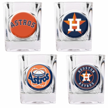 Houston Astros 4 Piece Assorted Shot Glass Set