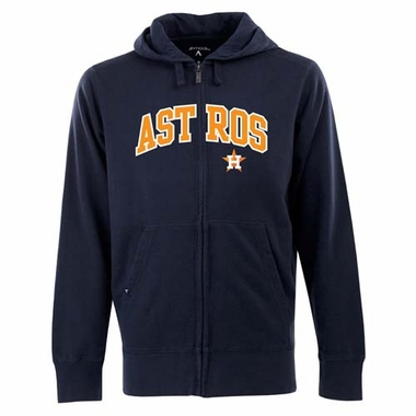 Houston Astros Mens Applique Full Zip Hooded Sweatshirt (Team Color: Navy)