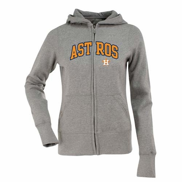 Houston Astros Applique Womens Zip Front Hoody Sweatshirt (Color: Gray)