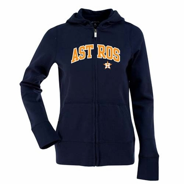 Houston Astros Applique Womens Zip Front Hoody Sweatshirt (Team Color: Navy)