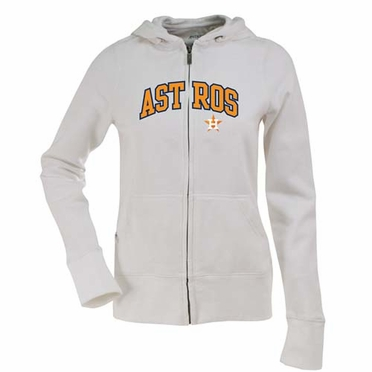 Houston Astros Applique Womens Zip Front Hoody Sweatshirt (Color: White)