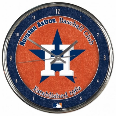Houston Astros Round Chrome Wall Clock