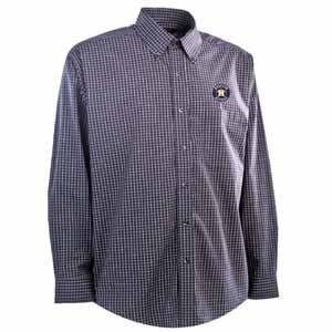 Houston Astros Mens Esteem Check Pattern Button Down Dress Shirt (Team Color: Navy) - Small
