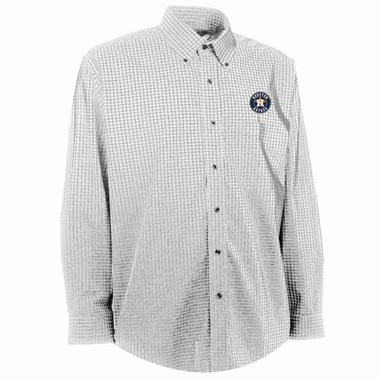 Houston Astros Mens Esteem Check Pattern Button Down Dress Shirt (Color: White)