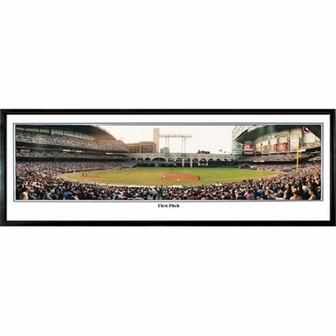 Houston Astros First Pitch Framed Panoramic Print
