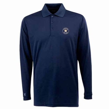 Houston Astros Mens Long Sleeve Polo Shirt (Team Color: Navy)