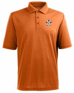 Houston Astros Mens Pique Xtra Lite Polo Shirt (Cooperstown) (Team Color: Orange) - Large