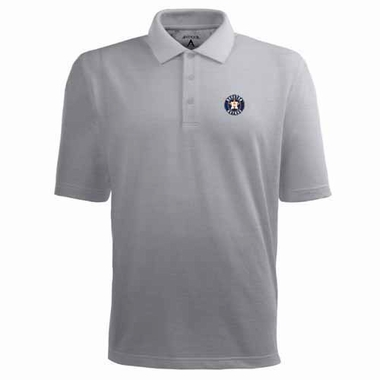 Houston Astros Mens Pique Xtra Lite Polo Shirt (Color: Gray)
