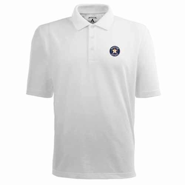 Houston Astros Mens Pique Xtra Lite Polo Shirt (Color: White)