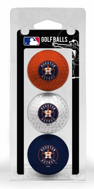 Houston Astros Set of 3 Multicolor Golf Balls