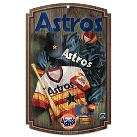 Houston Astros Wood Sign w/ Throwback Jersey