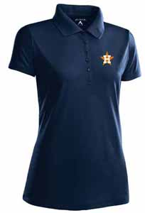 Houston Astros Womens Pique Xtra Lite Polo Shirt (Cooperstown) (Team Color: Navy) - Medium