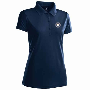 Houston Astros Womens Pique Xtra Lite Polo Shirt (Color: Navy)