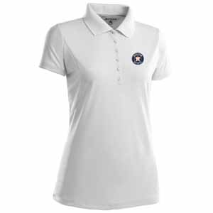 Houston Astros Womens Pique Xtra Lite Polo Shirt (Color: White) - X-Large