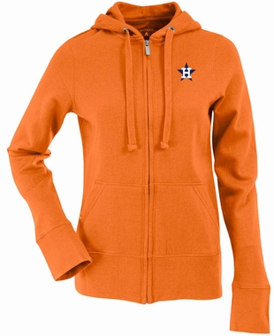 Houston Astros Womens Zip Front Hoody Sweatshirt (Cooperstown) (Team Color: Orange)