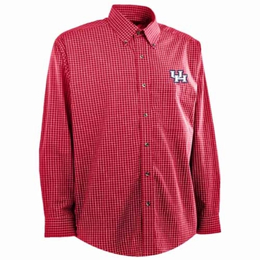 Houston Mens Esteem Check Pattern Button Down Dress Shirt (Team Color: Red)