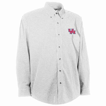 Houston Mens Esteem Check Pattern Button Down Dress Shirt (Color: White)