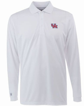 Houston Mens Long Sleeve Polo Shirt (Color: White)