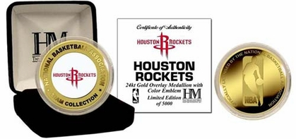 Houston Rockets HOUSTON ROCKETS 24KT Gold and Color Team Logo Coin