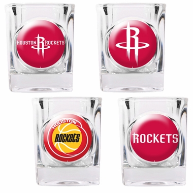 Houston Rockets 4 Piece Assorted Shot Glass Set