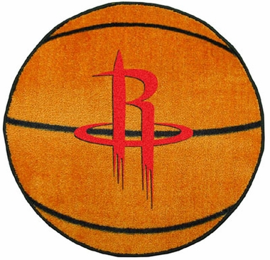 Houston Rockets Basketball Shaped Rug