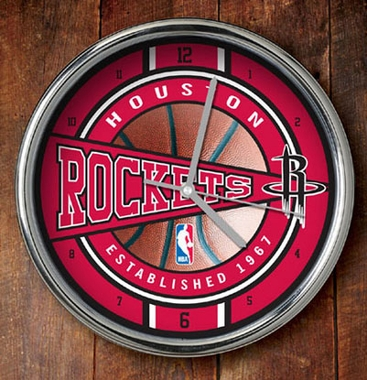 Houston Rockets Chrome Clock